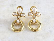 Stunning Monet Signed Gold Tone Faux Pearl Dangling Clip-On Earrings