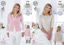 King Cole Ladies 4ply Knitting Pattern Raglan Sleeve Lace Panel Cardigan 4785