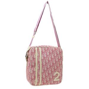 Christian Dior No.2 Trotter Cross Body Shoulder Bag Pink White PVC Patent 37504