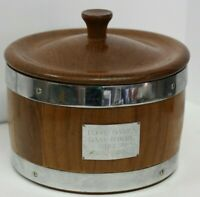 Vintage Wood Round Cheese Box W/ Lid and Chrome Pantry Denmark Blue Cheese Rare