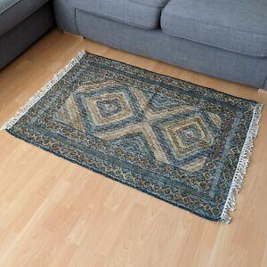 75 x 120cm Handspun Jute Diamond Kilim Floor Dhurrie Rug Ethnic Indian Mat