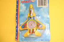 VINTAGE  TIN & PLASTIC AIRPLANE F 15 EAGLE ROULETTE FRICTION PULL BACK RARE TOY