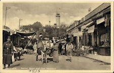 RARE OLD R/P POSTCARD - NATIVE BAZAR & FORT NAPOLEON - ALEXANDRIA - EGYPT 1936