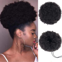 Afro Curly Hair Bun Chignon Synthetic Drawstring High Puff Ponytail Extensions d