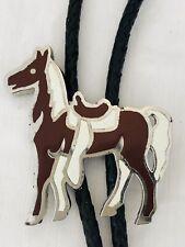 Vintage 1980's Large Palomino Horse Enamel On Metal Bolo Tie Leather