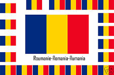 Assortiment de 25 autocollants Vinyle stickers drapeau Roumanie-Romania-Rumania