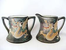 Antique Gray Dragon Nagoya SNB Nippon Moriage Dragonware Sugar & Creamer