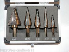 5PC STEP DRILL SET COBALT COATING ( SAE TRI-FLAT SHANK )