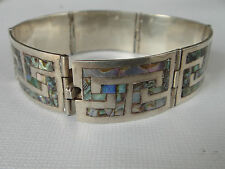 "Signed ""Trb Hecho En Mexico Df 925"" 7 Inch Sterling Silver & Abalone Bracelet"