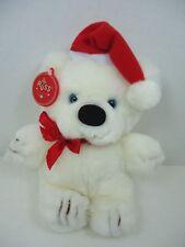 "Vintage Russ Snowdrop White Christmas Teddy Bear Plush Santa Hat 8"" NWT Blue Eye"