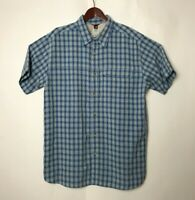 The North Face Mens Sz XL Fishing Hiking Shirt Button Front Blue Check Plaid