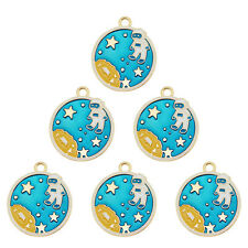 10PCS Blue&Gold Enamel Alloy Space Astronaut Pendant Charms DIY Accessories