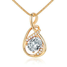 Golden Ribbon Style Pendant Gold Filled Crystal Zircon Women Lady Necklace Chain