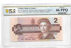 Canada Pick#94c 1986 2 DOLLARS PCGS 66 PPQ