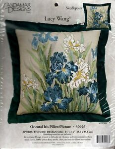 Candamar Designs ORIENTAL IRIS PILLOW needlepoint kit 30926 - Lucy Wang - New