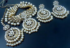 WHITE KUNDAN PEARL GOLD TONE CHOKER NECKLACE SET 4 PCS BOLLYWOOD BRIDAL JEWELRY