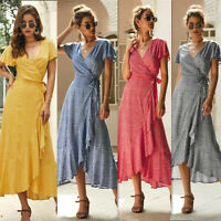 Women's Party Evening Boho Maxi Dress Ladies Holiday Short Sleeve Cocktail Long