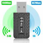 1300Mbps USB3.0 Wireless WiFi Adapter Dongle Dual Band 5G/2.4G Desktop Laptop PC