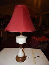 VINTAGE WOOD CERAMIC TABLE LAMP MID CENTURY DANISH MODERN FINIAL LIGHT