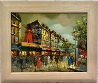 PG Tiele Parisian Street Scene Oil Painting Moulin Rouge Impressionist Vintage