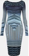 Topshop Blue Optical Geometric Vtg Aztec Silky Celeb Bodycon Midi Dress 10 6 38