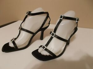 """New Mix-it Womens Size 8 M Black 3.5"""" Special Occasion Heels Rhinestone Straps"""