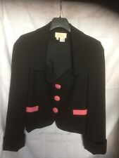 SARA BERMAN Neat Pure Wool Black Jacket with contrasting Pink Buttons. Small