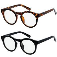Mens Womens Fashion Round Retro Plastic Frame Clear Lens Eye Glasses Large Circl