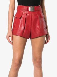 Natural leather stylish women shorts hotpants High waist Red Color