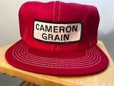 Vintage Snapback Hat Cap CAMERON GRAIN Trucker Farmer K PRODUCTS USA Red