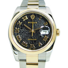 ROLEX - 36mm 18kt Gold & Stainless DateJust - Black Jubilee Roman Dial - 116203