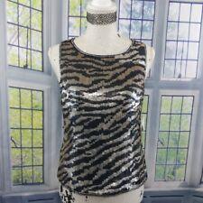 Laurence Kazar Paris-New York Top Women Medium Tank 100% Silk Zebra Sequin Black