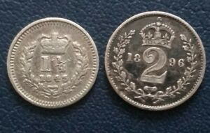 Queen Victoria.Two Sterling Silver Coins. 1843 Three half pence & 1896 two pence