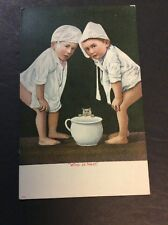 WHO IS NEXT  Toddlers, Kitten with Chamber Pot Postcard  Toilet Humor Circa 1900