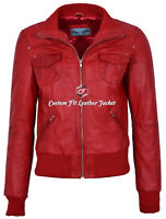 Ladies Bomber Jacket Red Classic Style 100% NAPA SOFT Leather SIZE: 8-20  (3758)