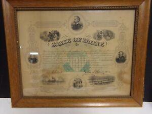 1868 Civil War  document   18  Inches X 15 in  Joshua Chamberlain- Maine
