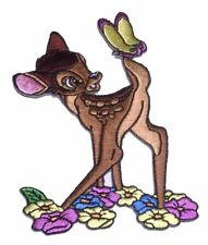 """Bambi With Flowers  3 1/2"""" Tall  Embroidered Iron On Patch"""
