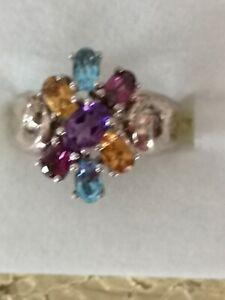 Multi stone Silver Ring uk size L