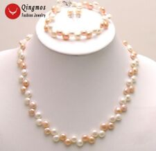 8-9mm Natural Flat Round Freshwater Pearl Necklace Bracelet Earring Set Women