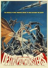 Destroy All Monsters POSTER Godzilla Rodan Mothra *VERY LARGE* Japanese Sci Fi