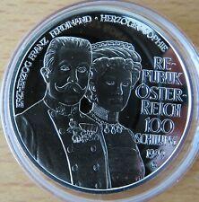 Österreich 100 Schilling 1999, Franz Ferdinand, Silber-Münze, polierte Platte