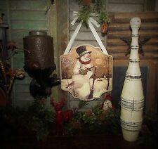Primitive Vtg Style Retro Christmas Holiday Winter Welcome Snowman Hanging Sign