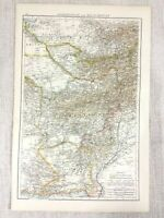 1898 Antique Map of Afghanistan Balochistan South Asia Original 19th Century