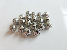 20 x 6mm Round Filigree BRASS Beads Silver Plated Brass Beads Metal Beads (MB42)