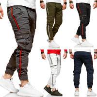 Cargo Jogger-Jeans Track Biker Chinohose Jogginghose Streifen Slim Fit NEU