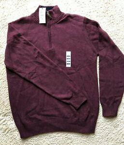 Men's Hagger Long Sleeve Sweater Pullover Quarter length Zipper - Medium