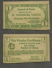 1950 St. Petersburg Festival of States Wooden Nickel Flat - NEW HAMPSHIRE sk#204