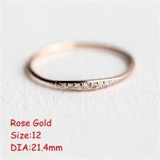 Elegant Thin Rhinestone Ring Valentines Day Wedding Gift for Women Size 5-10 Gold 5