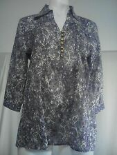 Gordon Smith Ladies Blouse in a Purple Black and Brown Semi Sheer Fabric Size 10