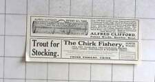 1912 Alfred Clifford Eel Traps, Hawley. Kent, Chirk Fishery Chirk Ad